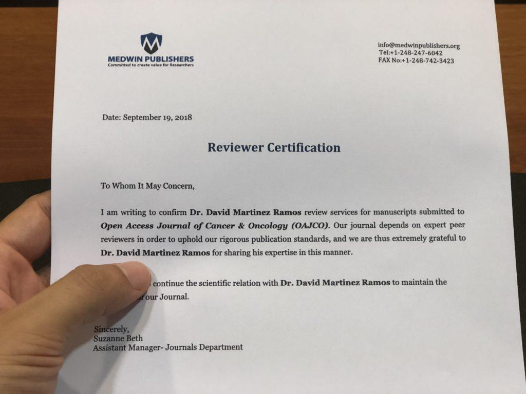 certificado revisor david martinez ramos cirujano clinica estetica castellon